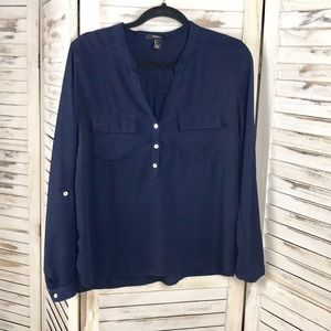 FOREVER 21 | Navy Button Blouse